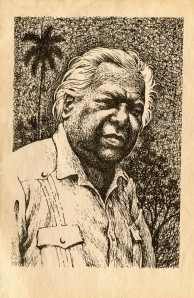 Guillén in a woodcut portrait  from his collection titled Palma Sola