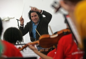 Gustavo Dudamel conducting an L.A. youth orchestra