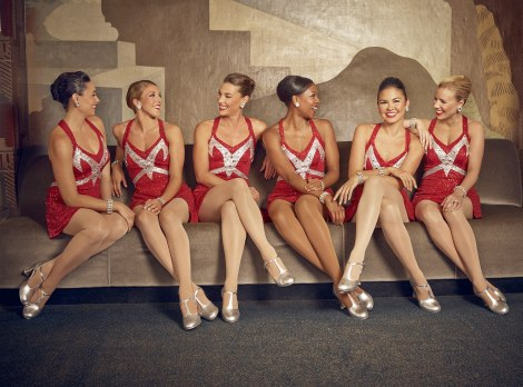 Rockettes relaxing off stage